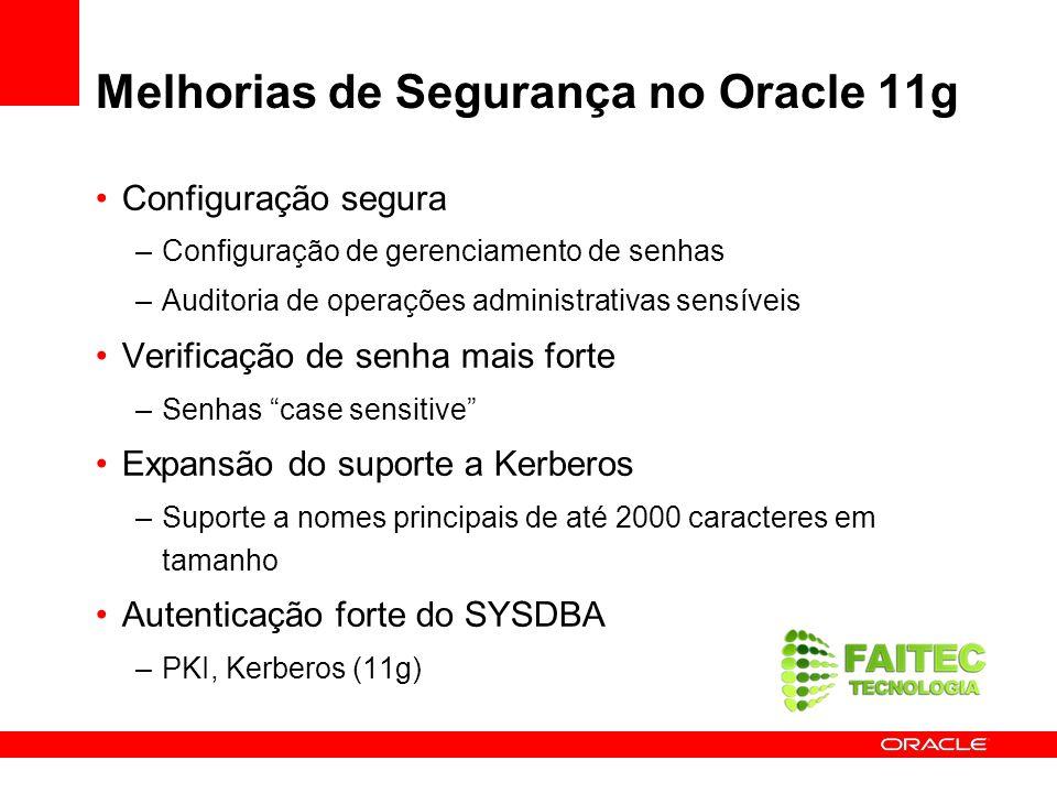 Melhorias de Segurança no Oracle 11g Configuração segura –Configuração de gerenciamento de senhas –Auditoria de operações administrativas sensíveis Ve