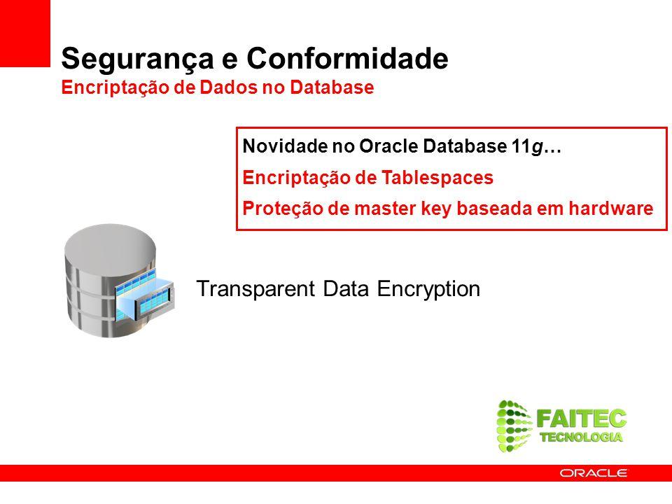 Segurança e Conformidade Encriptação de Dados no Database Transparent Data Encryption Novidade no Oracle Database 11g… Encriptação de Tablespaces Prot
