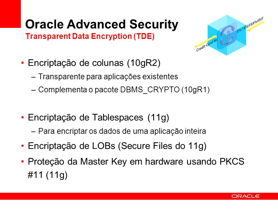 Oracle Advanced Security Transparent Data Encryption (TDE) Encriptação de colunas (10gR2) –Transparente para aplicações existentes –Complementa o paco