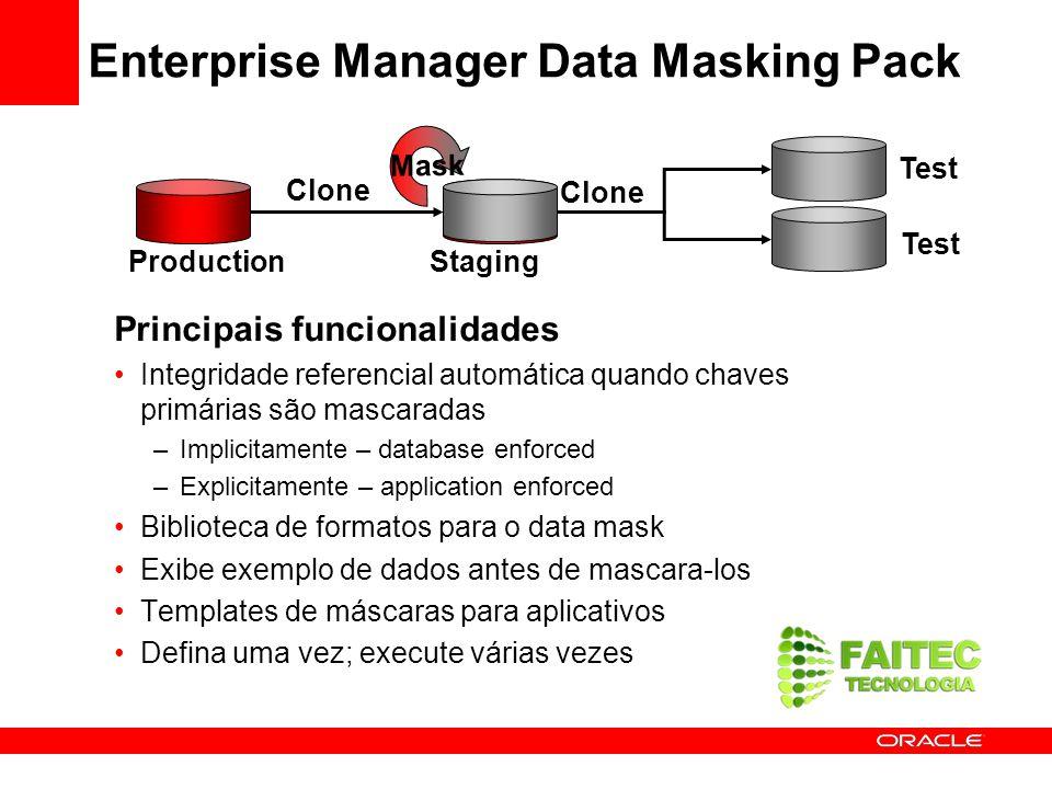 Principais funcionalidades Integridade referencial automática quando chaves primárias são mascaradas –Implicitamente – database enforced –Explicitamen