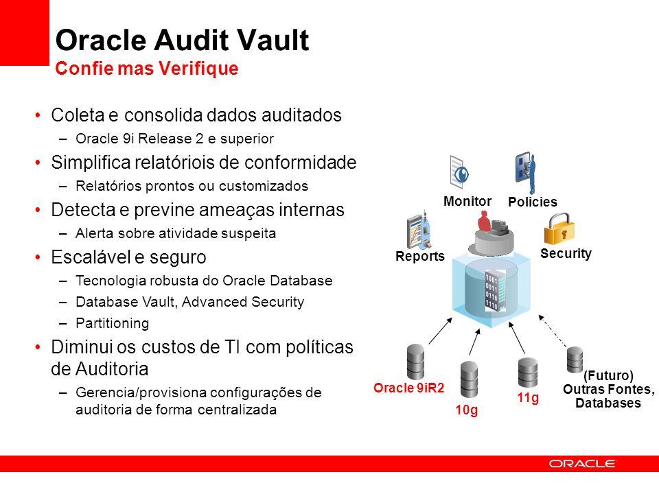 Oracle Audit Vault Confie mas Verifique Coleta e consolida dados auditados –Oracle 9i Release 2 e superior Simplifica relatóriois de conformidade –Rel