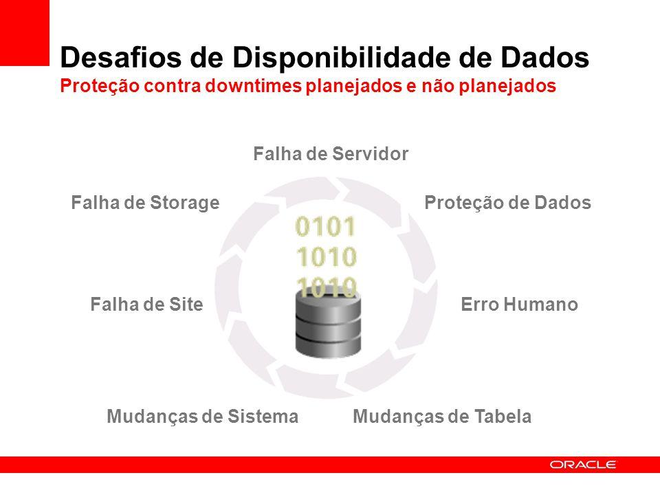 Falha de Servidor Desafios de Disponibilidade de Dados Proteção contra downtimes planejados e não planejados Falha de Storage Erro Humano Mudanças de