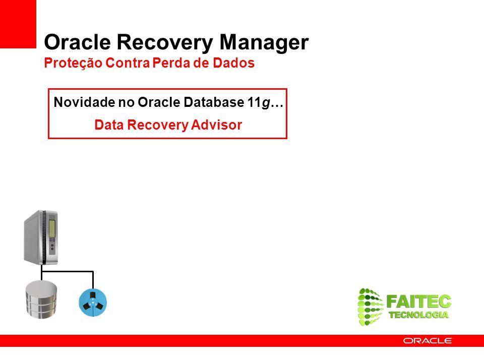 Oracle Recovery Manager Proteção Contra Perda de Dados Novidade no Oracle Database 11g… Data Recovery Advisor