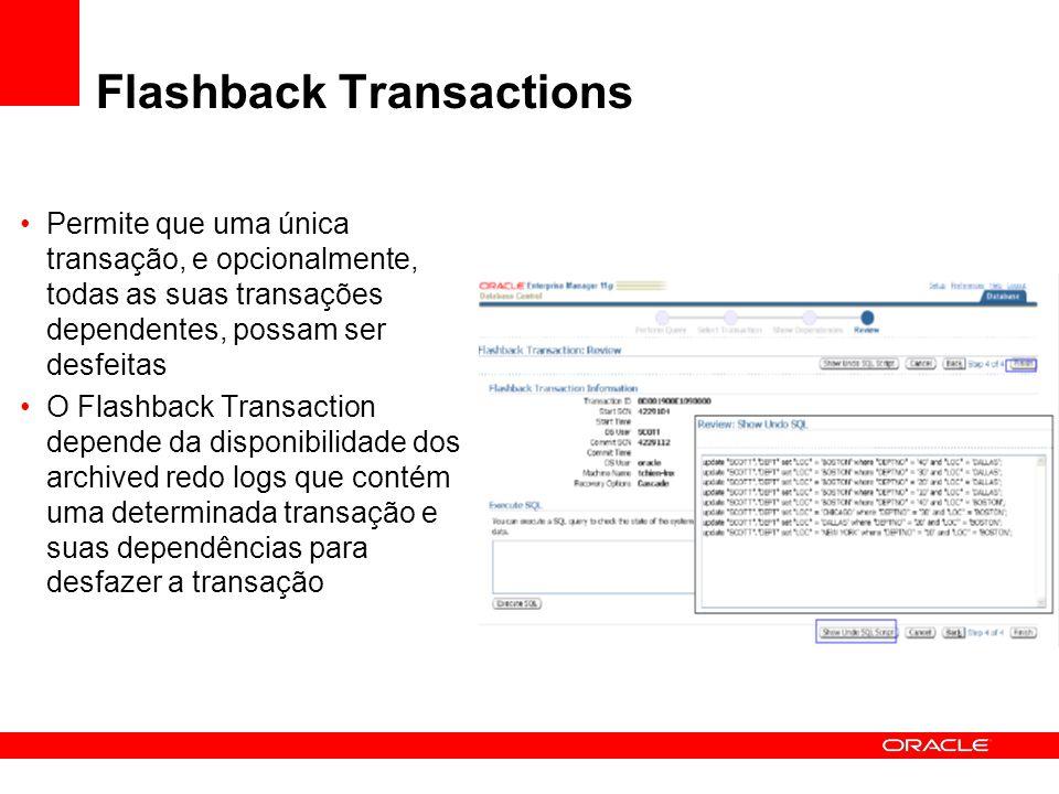 Flashback Transactions Permite que uma única transação, e opcionalmente, todas as suas transações dependentes, possam ser desfeitas O Flashback Transa