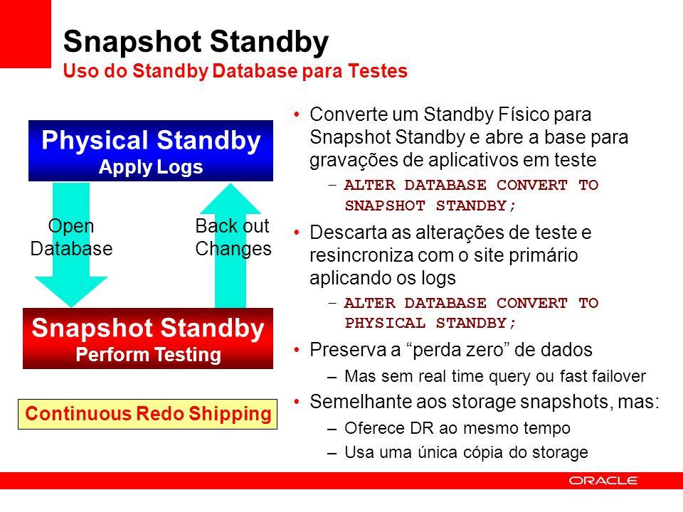 Snapshot Standby Uso do Standby Database para Testes Converte um Standby Físico para Snapshot Standby e abre a base para gravações de aplicativos em t