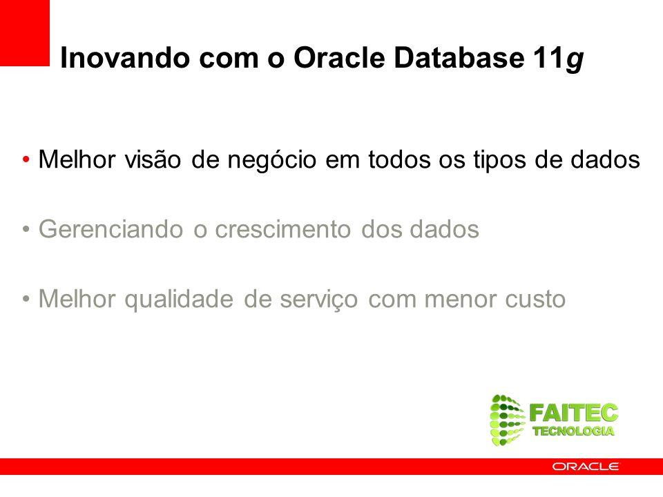 Oracle Audit Vault Confie mas Verifique Coleta e consolida dados auditados –Oracle 9i Release 2 e superior Simplifica relatóriois de conformidade –Relatórios prontos ou customizados Detecta e previne ameaças internas –Alerta sobre atividade suspeita Escalável e seguro –Tecnologia robusta do Oracle Database –Database Vault, Advanced Security –Partitioning Diminui os custos de TI com políticas de Auditoria –Gerencia/provisiona configurações de auditoria de forma centralizada 11g 10g Oracle 9iR2 (Futuro) Outras Fontes, Databases Monitor Policies Reports Security