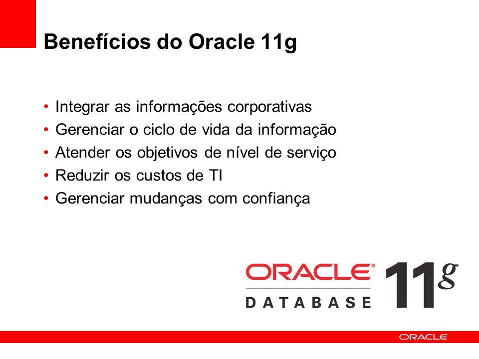 Benefícios do Oracle 11g Integrar as informações corporativas Gerenciar o ciclo de vida da informação Atender os objetivos de nível de serviço Reduzir