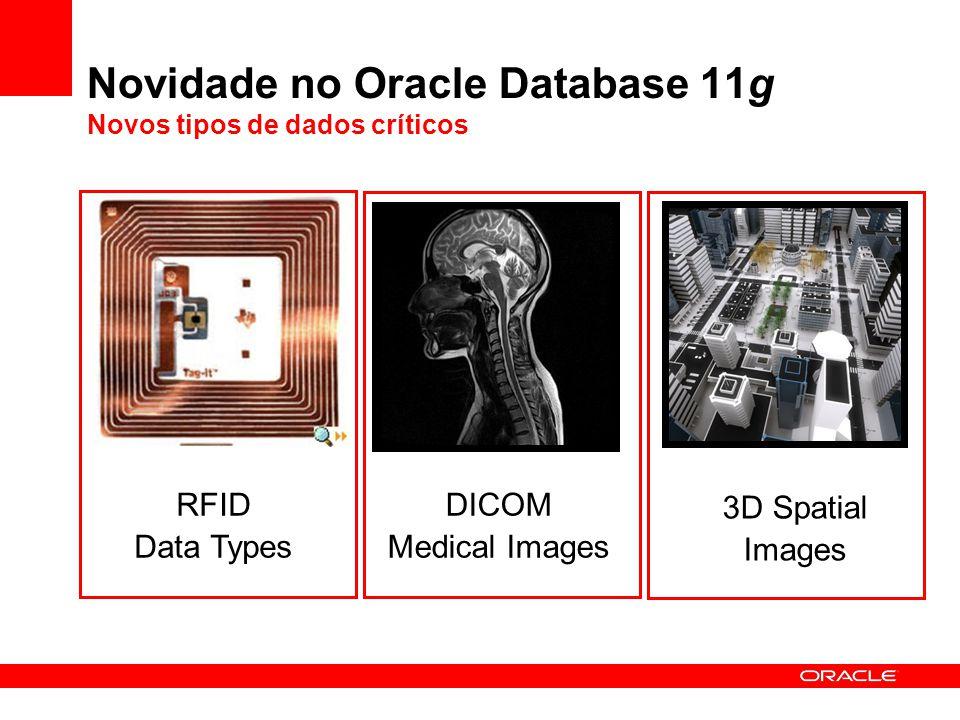 Oracle Secure Files SecureFiles é uma nova funcionalidade do banco de dados projetada para quebrar a barreira de desempenho que mantinha arquivos fora das bases de dados Similar aos LOBs mas muito mais rápido, e com mais funcionalidades –2 a 10 vezes mais rápido que os LOBs –Suporte a transparent encryption, compressão, deduplicação, etc.