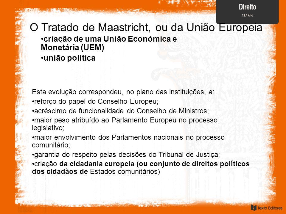 O Tratado de Maastricht, ou da União Europeia criação de uma União Económica e Monetária (UEM) união política Esta evolução correspondeu, no plano das instituições, a: reforço do papel do Conselho Europeu; acréscimo de funcionalidade do Conselho de Ministros; maior peso atribuído ao Parlamento Europeu no processo legislativo; maior envolvimento dos Parlamentos nacionais no processo comunitário; garantia do respeito pelas decisões do Tribunal de Justiça; criação da cidadania europeia (ou conjunto de direitos políticos dos cidadãos de Estados comunitários)