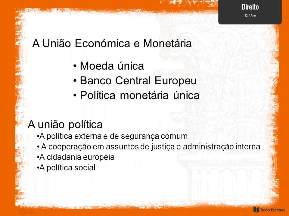 A União Económica e Monetária Moeda única Banco Central Europeu Política monetária única A união política A política externa e de segurança comum A cooperação em assuntos de justiça e administração interna A cidadania europeia A política social
