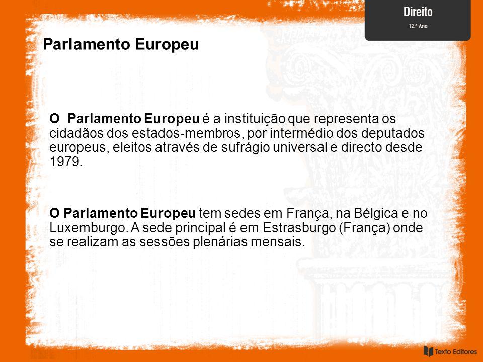 Parlamento Europeu O Parlamento Europeu é a instituição que representa os cidadãos dos estados-membros, por intermédio dos deputados europeus, eleitos através de sufrágio universal e directo desde 1979.