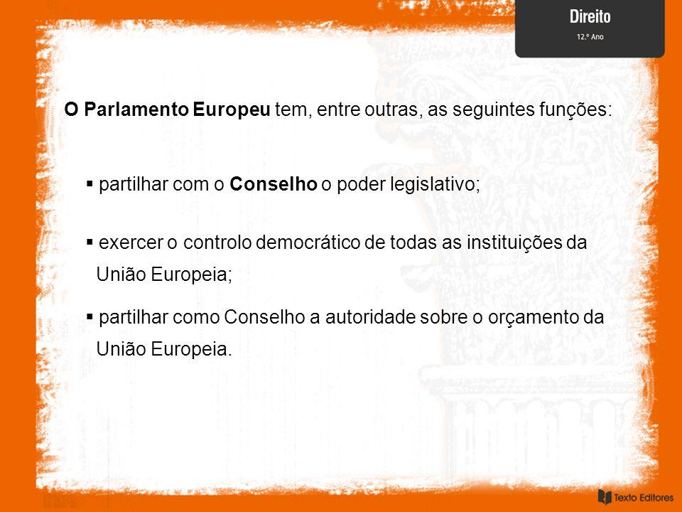 O Parlamento Europeu tem, entre outras, as seguintes funções:  partilhar com o Conselho o poder legislativo;  exercer o controlo democrático de todas as instituições da União Europeia;  partilhar como Conselho a autoridade sobre o orçamento da União Europeia.