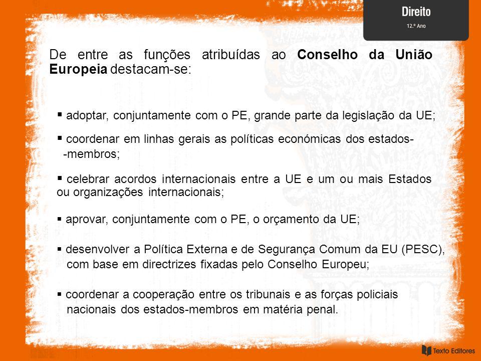 De entre as funções atribuídas ao Conselho da União Europeia destacam-se:  coordenar em linhas gerais as políticas económicas dos estados- -membros;  celebrar acordos internacionais entre a UE e um ou mais Estados ou organizações internacionais;  aprovar, conjuntamente com o PE, o orçamento da UE;  desenvolver a Política Externa e de Segurança Comum da EU (PESC), com base em directrizes fixadas pelo Conselho Europeu;  adoptar, conjuntamente com o PE, grande parte da legislação da UE;  coordenar a cooperação entre os tribunais e as forças policiais nacionais dos estados-membros em matéria penal.