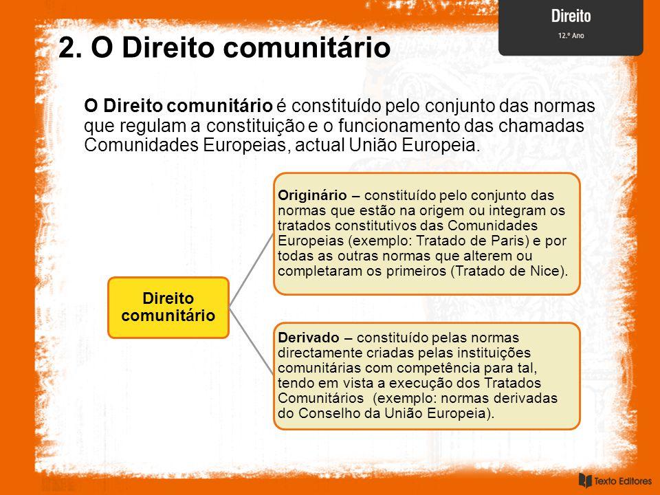 2. O Direito comunitário O Direito comunitário é constituído pelo conjunto das normas que regulam a constituição e o funcionamento das chamadas Comuni