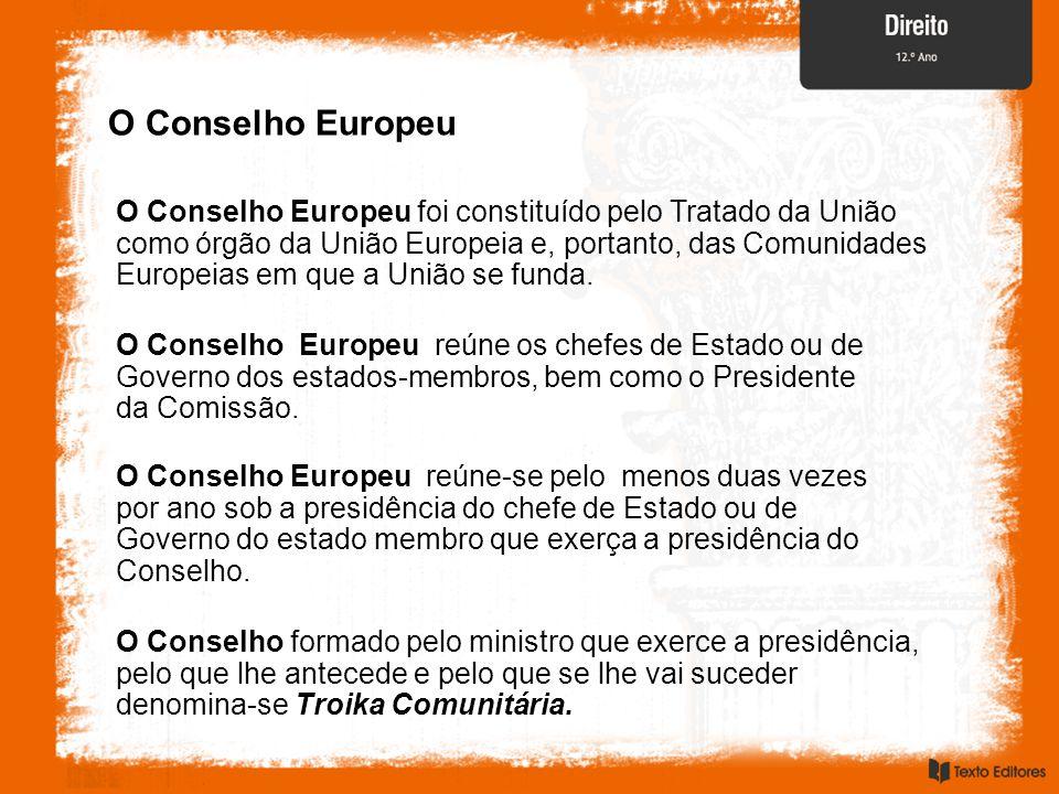 O Conselho Europeu O Conselho Europeu foi constituído pelo Tratado da União como órgão da União Europeia e, portanto, das Comunidades Europeias em que a União se funda.