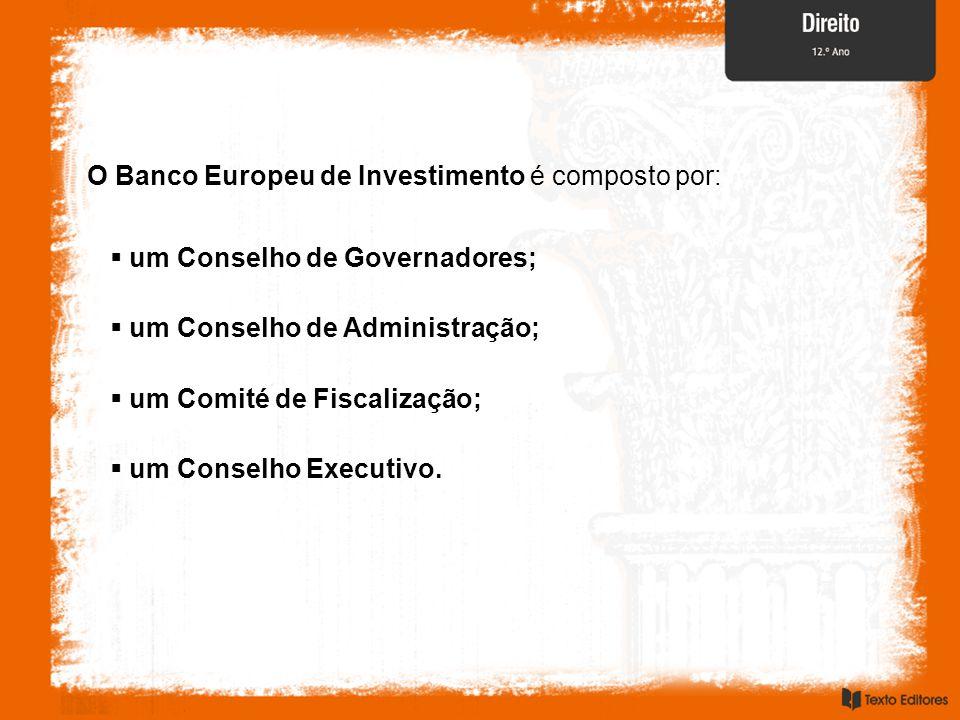 O Banco Europeu de Investimento é composto por:  um Comité de Fiscalização;  um Conselho de Administração;  um Conselho de Governadores;  um Conselho Executivo.