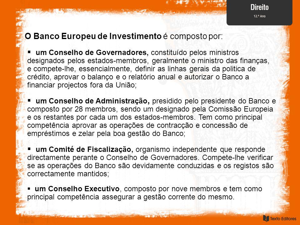 O Banco Europeu de Investimento é composto por:  um Conselho de Governadores, constituído pelos ministros designados pelos estados-membros, geralmente o ministro das finanças, e compete-lhe, essencialmente, definir as linhas gerais da politica de crédito, aprovar o balanço e o relatório anual e autorizar o Banco a financiar projectos fora da União;  um Conselho de Administração, presidido pelo presidente do Banco e composto por 28 membros, sendo um designado pela Comissão Europeia e os restantes por cada um dos estados-membros.