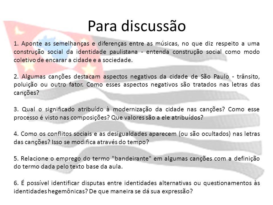 Para discussão 1. Aponte as semelhanças e diferenças entre as músicas, no que diz respeito a uma construção social da identidade paulistana - entenda