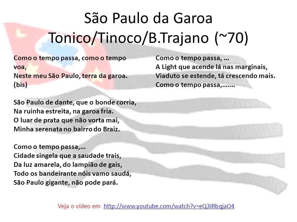 São Paulo da Garoa Tonico/Tinoco/B.Trajano (~70) Como o tempo passa, como o tempo voa, Neste meu São Paulo, terra da garoa. (bis) São Paulo de dante,