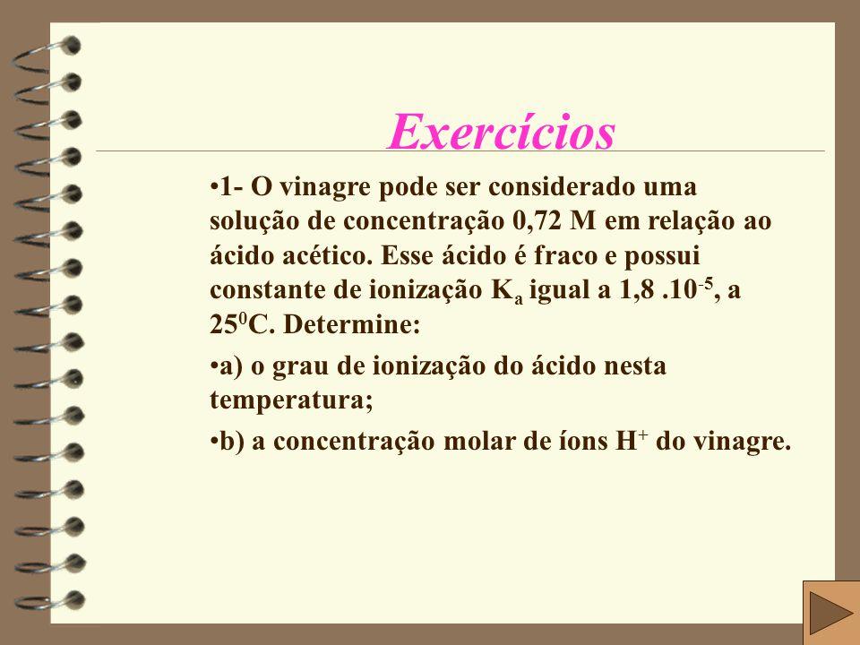 Dados do Exercício Sabemos que: K a = M.α 2 [H + ] =M α Solução