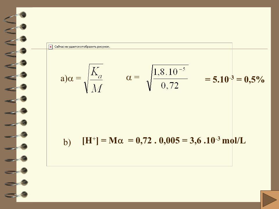 c- Cálculo do pH da solução resultante: Como o ácido está em excesso e sua molariade é igual a 0,05 M ou 5 x10 -2 M, fazemos o seguinte: [H + ] = M.