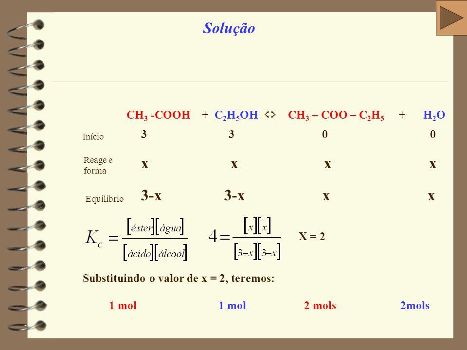 Observação: repare que neste exercício, poderíamos ter feito a tabela do equilíbrio, mas é muito mais fácil e mais rápido resolver usando as mesmas expressões de equilíbrio iônico, substituindo Ki por Kh e grau de ionização por grau de hidrólise.