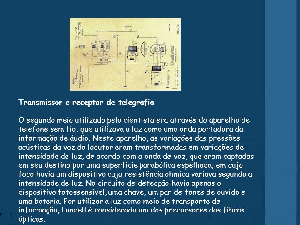 Transmissor e receptor de telegrafia O segundo meio utilizado pelo cientista era através do aparelho de telefone sem fio, que utilizava a luz como uma onda portadora da informação de áudio.