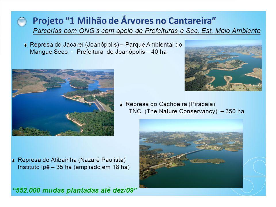 Projeto 1 Milhão de Árvores no Cantareira Parcerias com ONG's com apoio de Prefeituras e Sec.