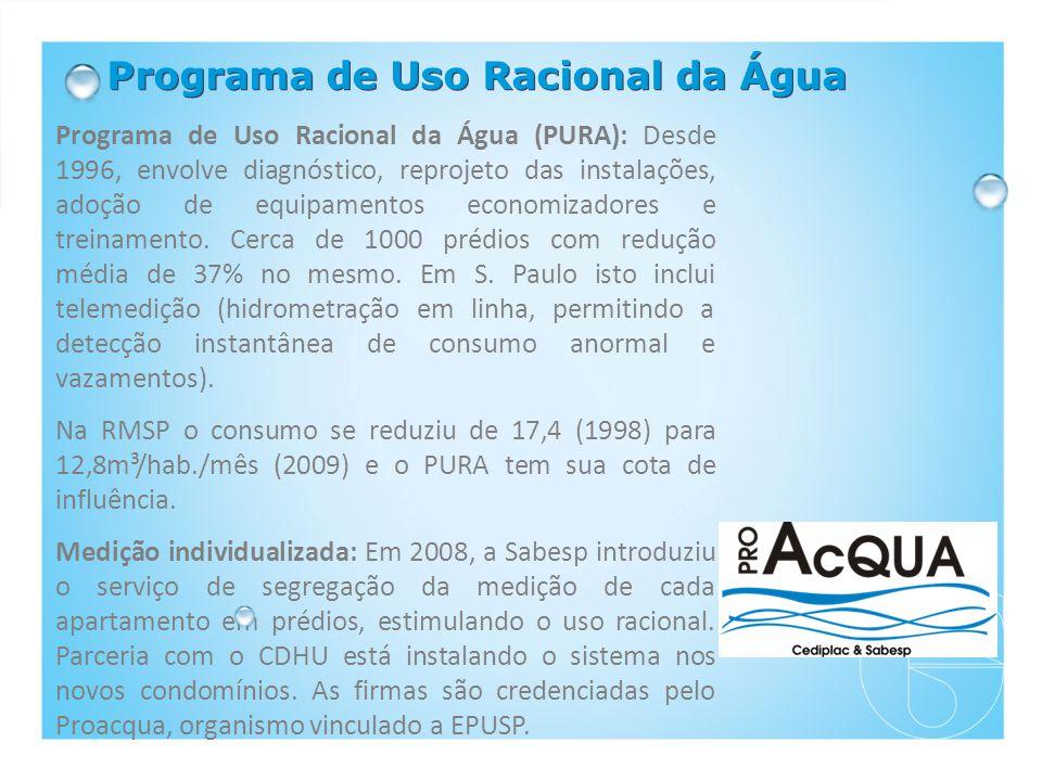Programa de Uso Racional da Água Programa de Uso Racional da Água (PURA): Desde 1996, envolve diagnóstico, reprojeto das instalações, adoção de equipamentos economizadores e treinamento.