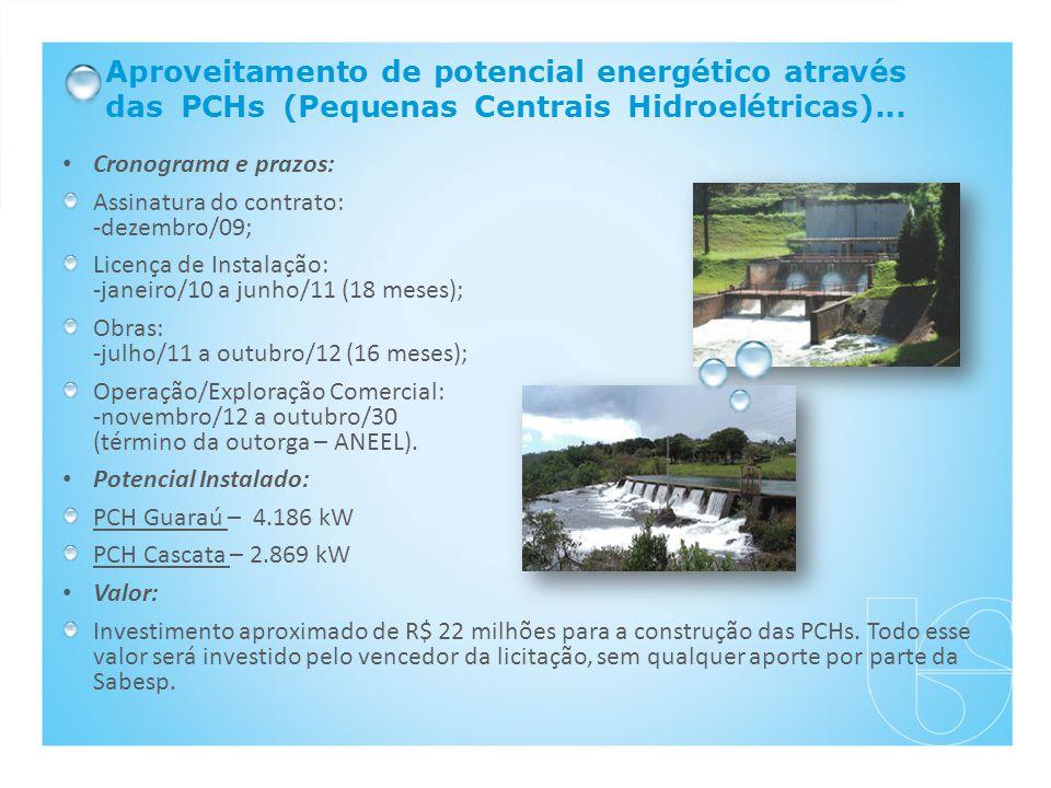 Aproveitamento de potencial energético através das PCHs (Pequenas Centrais Hidroelétricas)...