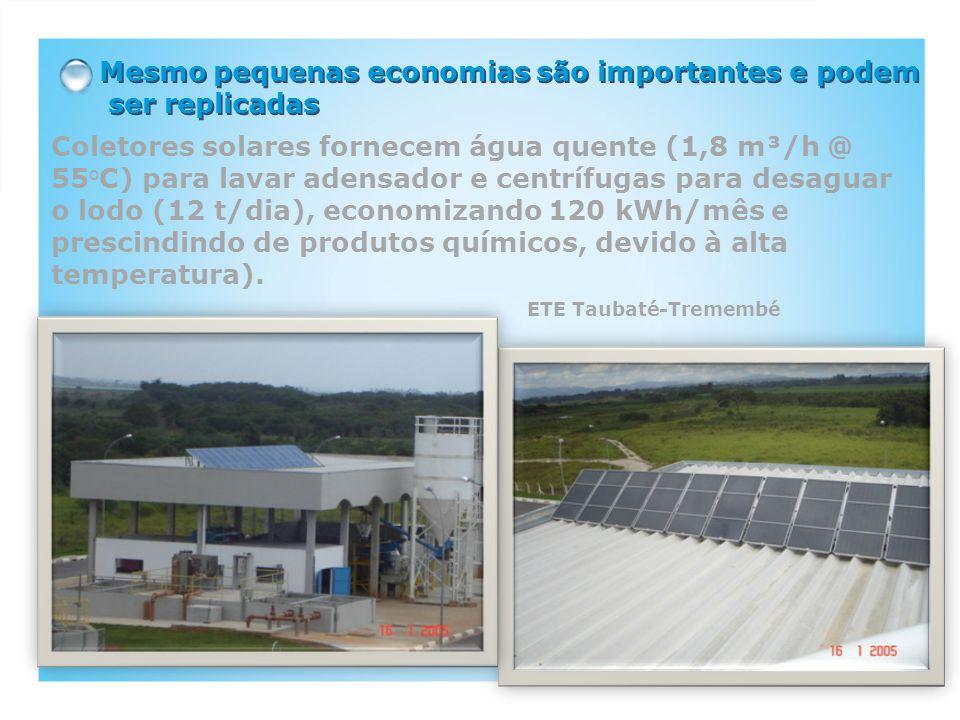 Mesmo pequenas economias são importantes e podem ser replicadas Coletores solares fornecem água quente (1,8 m³/h @ 55 o C) para lavar adensador e centrífugas para desaguar o lodo (12 t/dia), economizando 120 kWh/mês e prescindindo de produtos químicos, devido à alta temperatura).