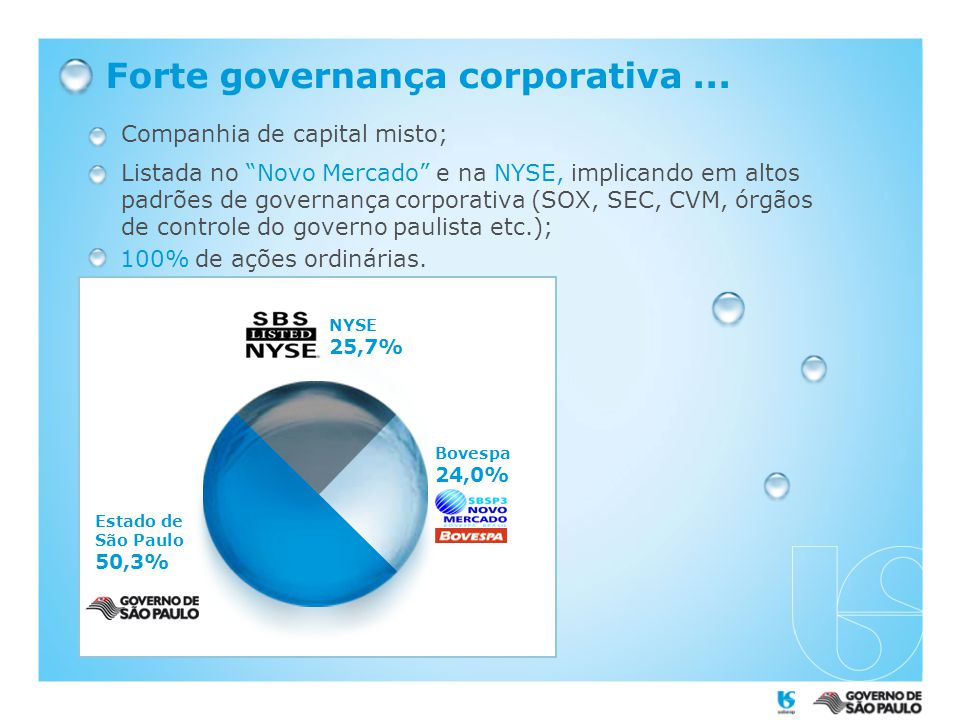 Forte governança corporativa...