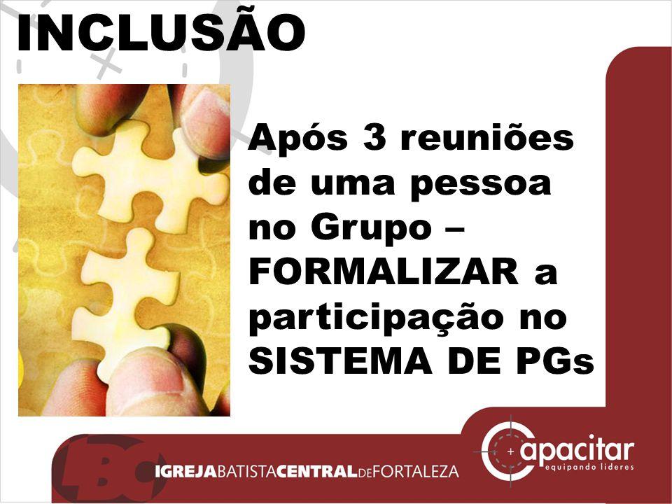 INCLUSÃO Após 3 reuniões de uma pessoa no Grupo – FORMALIZAR a participação no SISTEMA DE PGs