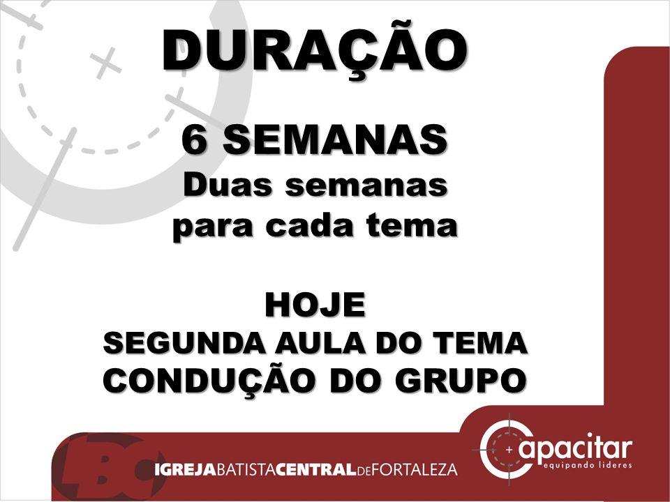 DURAÇÃO 6 SEMANAS Duas semanas para cada tema HOJE SEGUNDA AULA DO TEMA CONDUÇÃO DO GRUPO