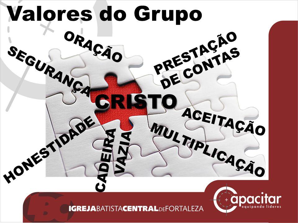 Valores do GrupoCRISTO CADEIRA VAZIA ACEITAÇÃO ORAÇÃO HONESTIDADE SEGURANÇA PRESTAÇÃO DE CONTAS MULTIPLICAÇÃO
