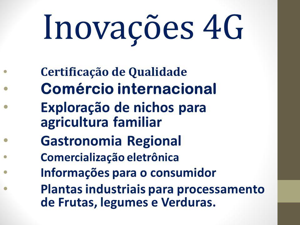 Inovações 4G Certificação de Qualidade Comércio internacional Exploração de nichos para agricultura familiar Gastronomia Regional Comercialização eletrônica Informações para o consumidor Plantas industriais para processamento de Frutas, legumes e Verduras.