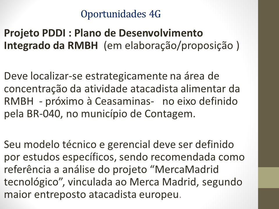 Oportunidades 4G Projeto PDDI : Plano de Desenvolvimento Integrado da RMBH (em elaboração/proposição ) Deve localizar-se estrategicamente na área de concentração da atividade atacadista alimentar da RMBH - próximo à Ceasaminas- no eixo definido pela BR-040, no município de Contagem.