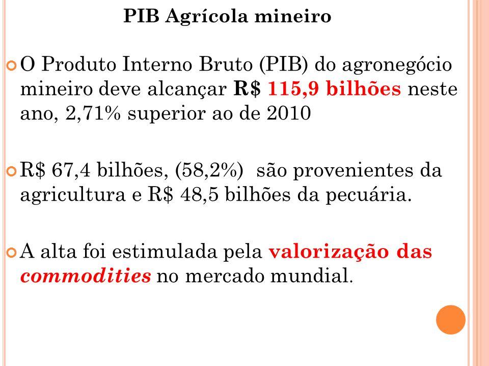 PIB Agrícola mineiro O Produto Interno Bruto (PIB) do agronegócio mineiro deve alcançar R$ 115,9 bilhões neste ano, 2,71% superior ao de 2010 R$ 67,4 bilhões, (58,2%) são provenientes da agricultura e R$ 48,5 bilhões da pecuária.
