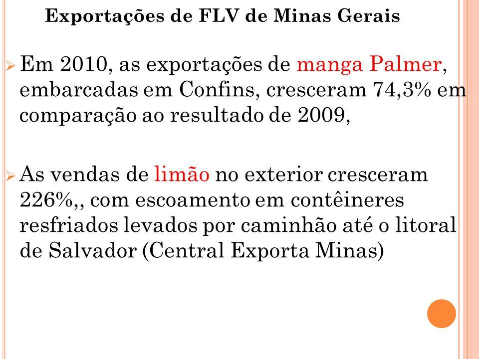 Exportações de FLV de Minas Gerais  Em 2010, as exportações de manga Palmer, embarcadas em Confins, cresceram 74,3% em comparação ao resultado de 2009,  As vendas de limão no exterior cresceram 226%,, com escoamento em contêineres resfriados levados por caminhão até o litoral de Salvador (Central Exporta Minas)