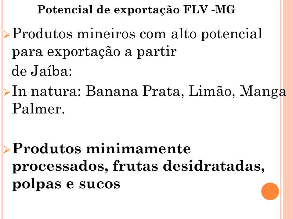 Potencial de exportação FLV -MG  Produtos mineiros com alto potencial para exportação a partir de Jaíba:  In natura: Banana Prata, Limão, Manga Palmer.