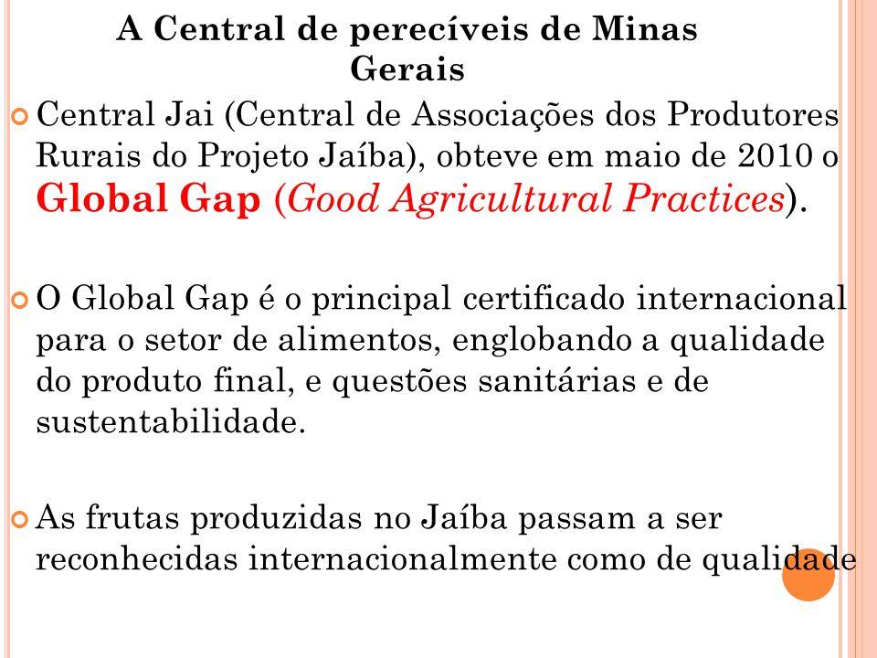 A Central de perecíveis de Minas Gerais Central Jai (Central de Associações dos Produtores Rurais do Projeto Jaíba), obteve em maio de 2010 o Global Gap ( Good Agricultural Practices ).