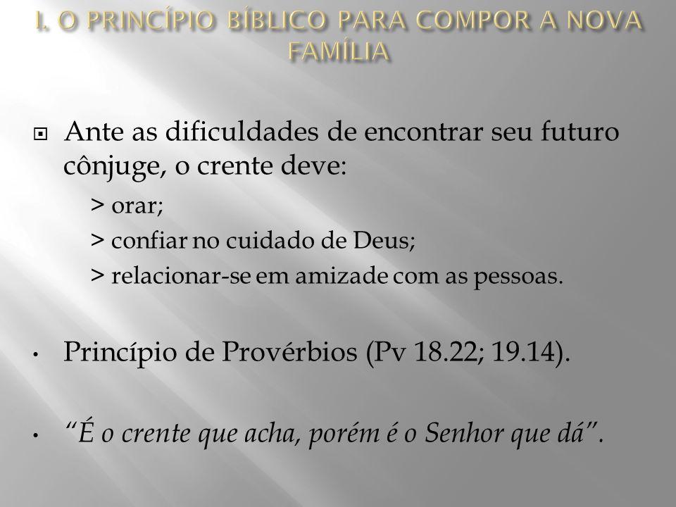  Ante as dificuldades de encontrar seu futuro cônjuge, o crente deve: > orar; > confiar no cuidado de Deus; > relacionar-se em amizade com as pessoas.
