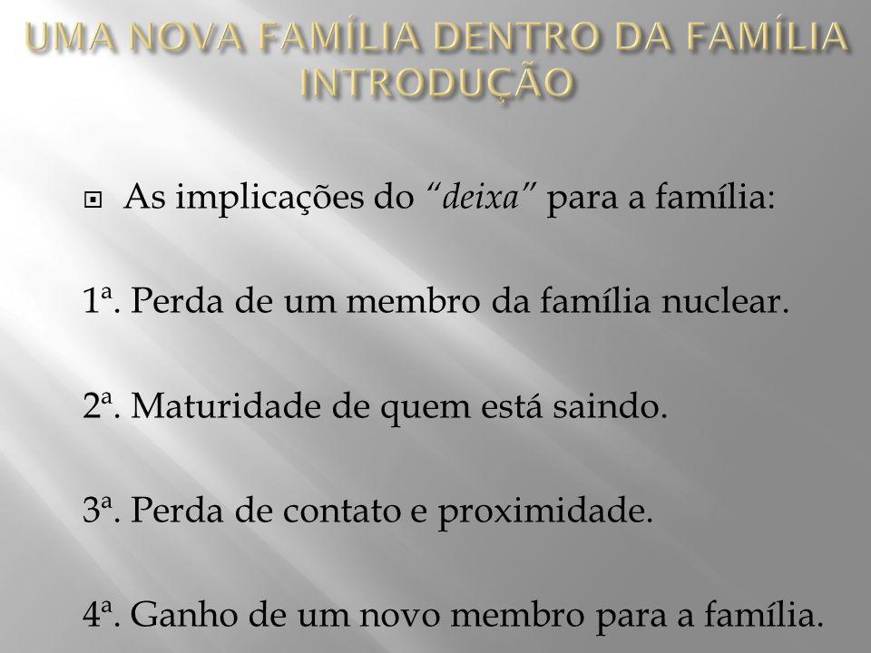  As implicações do deixa para a família: 1ª.Perda de um membro da família nuclear.