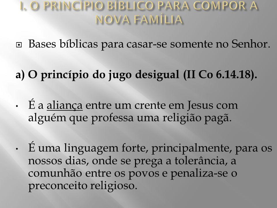  Vimos que o princípio bíblico para o casamento é: todo cristão é livre para casar-se com quem quiser, desde que a pessoa pertença ao Senhor.