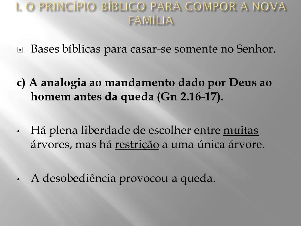  Bases bíblicas para casar-se somente no Senhor.d) A analogia ao pecado de Israel (Ed 10.10-11).