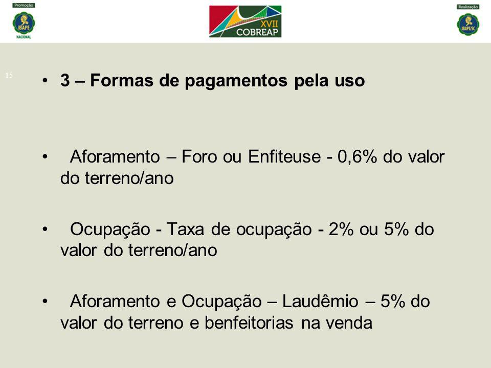 15 3 – Formas de pagamentos pela uso Aforamento – Foro ou Enfiteuse - 0,6% do valor do terreno/ano Ocupação - Taxa de ocupação - 2% ou 5% do valor do
