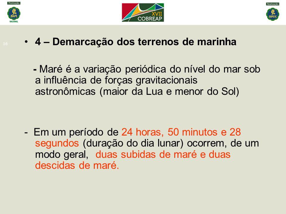 16 4 – Demarcação dos terrenos de marinha - Maré é a variação periódica do nível do mar sob a influência de forças gravitacionais astronômicas (maior