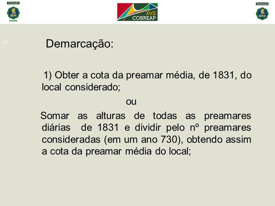 19 Demarcação: 1) Obter a cota da preamar média, de 1831, do local considerado; ou Somar as alturas de todas as preamares diárias de 1831 e dividir pe