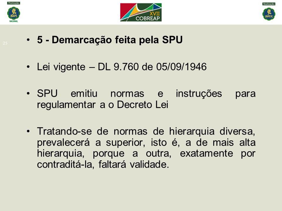 25 5 - Demarcação feita pela SPU Lei vigente – DL 9.760 de 05/09/1946 SPU emitiu normas e instruções para regulamentar a o Decreto Lei Tratando-se de