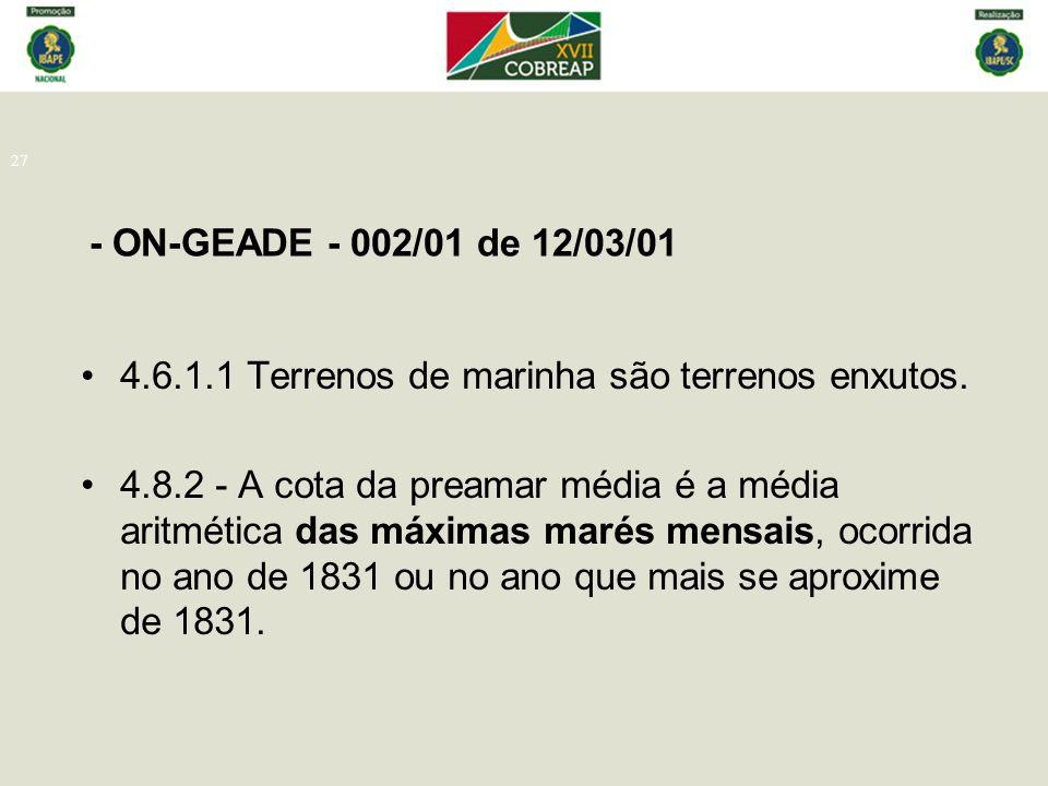 - ON-GEADE - 002/01 de 12/03/01 27 4.6.1.1 Terrenos de marinha são terrenos enxutos. 4.8.2 - A cota da preamar média é a média aritmética das máximas